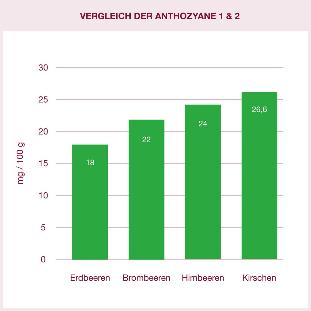 Vergleich des Anthozyan-Profils verschiedener Früchte: Kirschen mit höchstem Wert