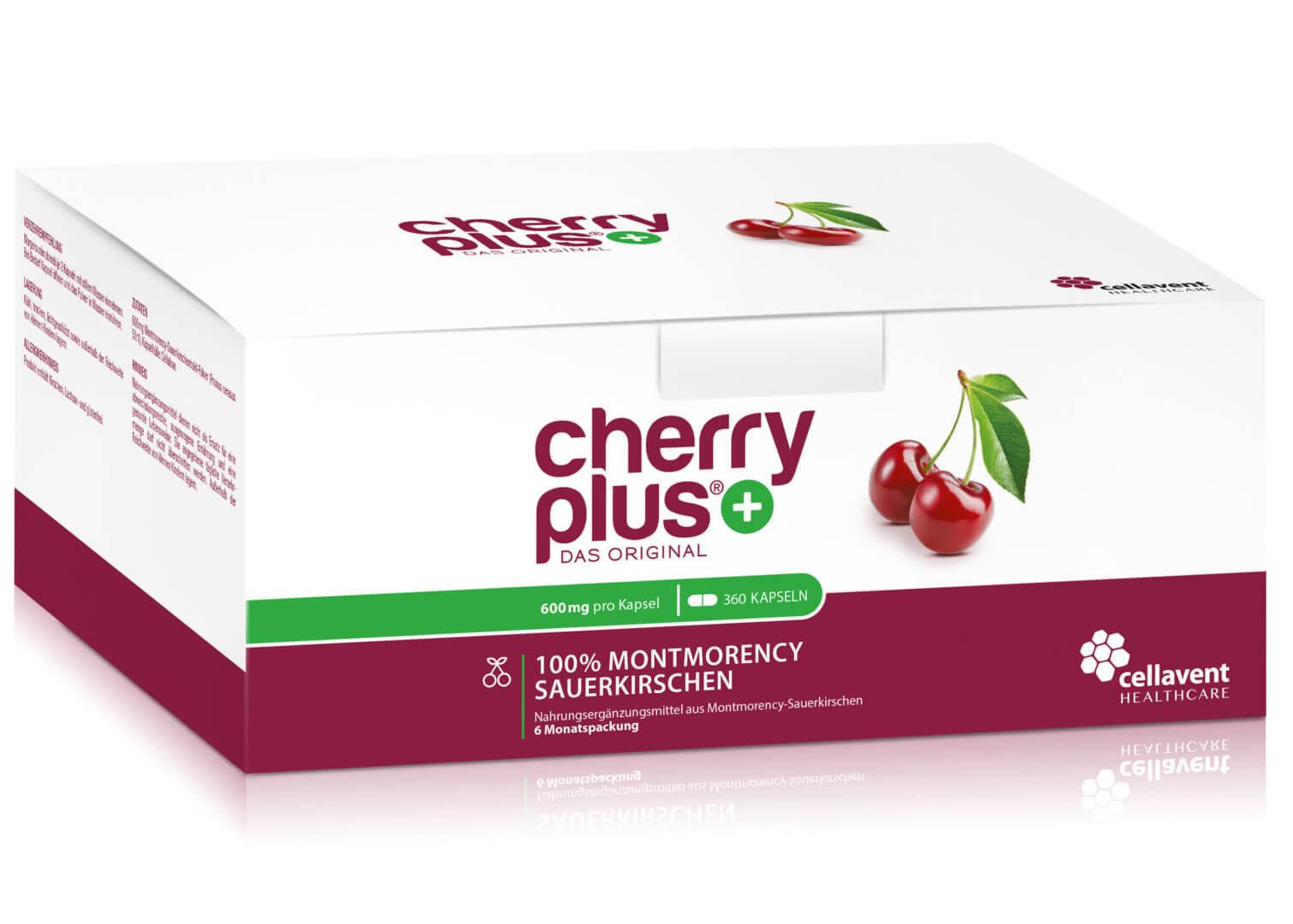 Cherry Plus Kapseln mit 600 mg Sauerkirsch-Extrakt pro Kapsel