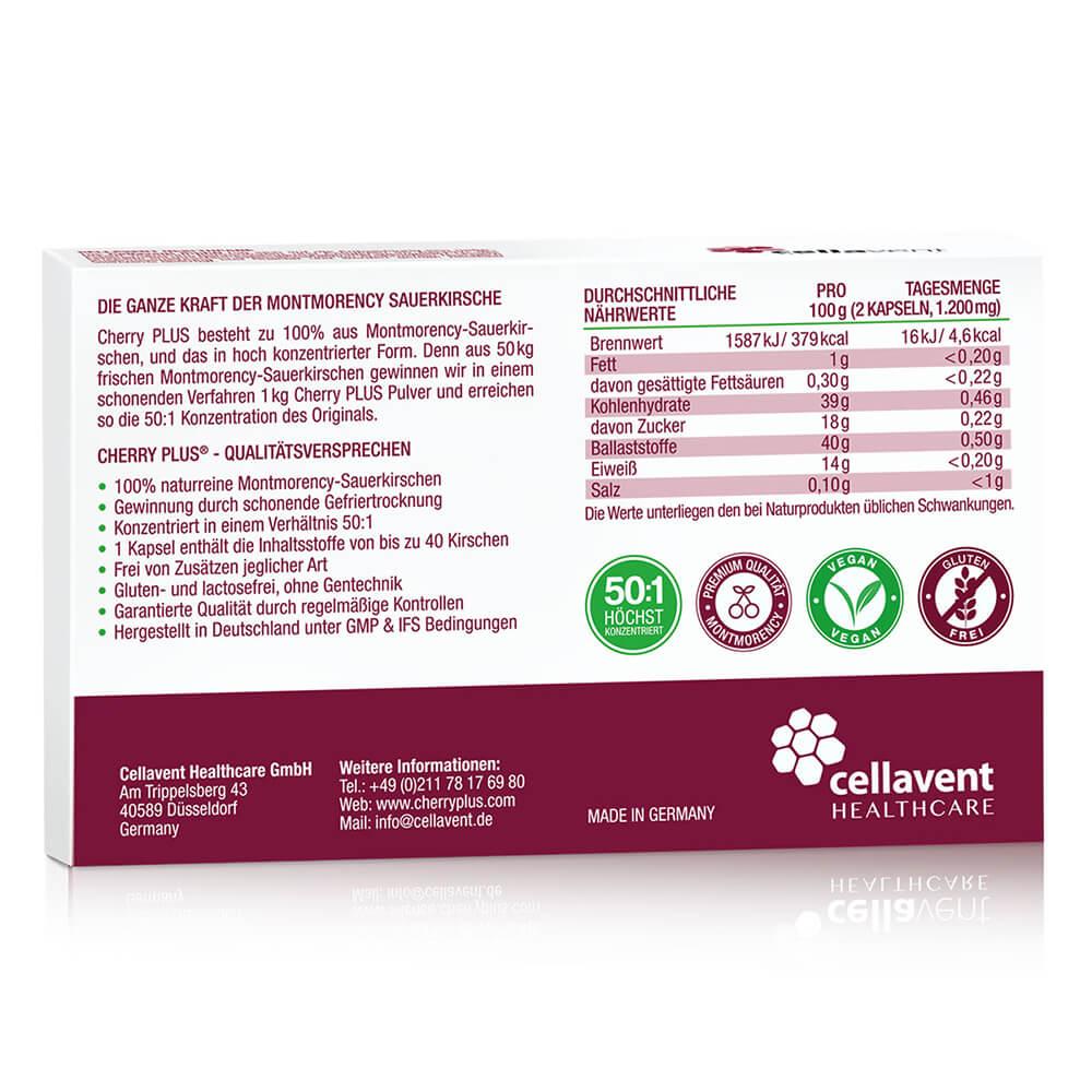 Cherry PLUS besteht zu 100% aus Montmrency Sauerkirschen