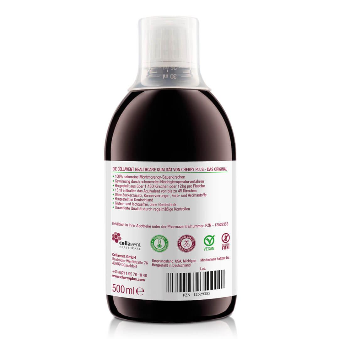 Cherry Plus Konzentrat mit 12 kg Kirschen pro Flasche