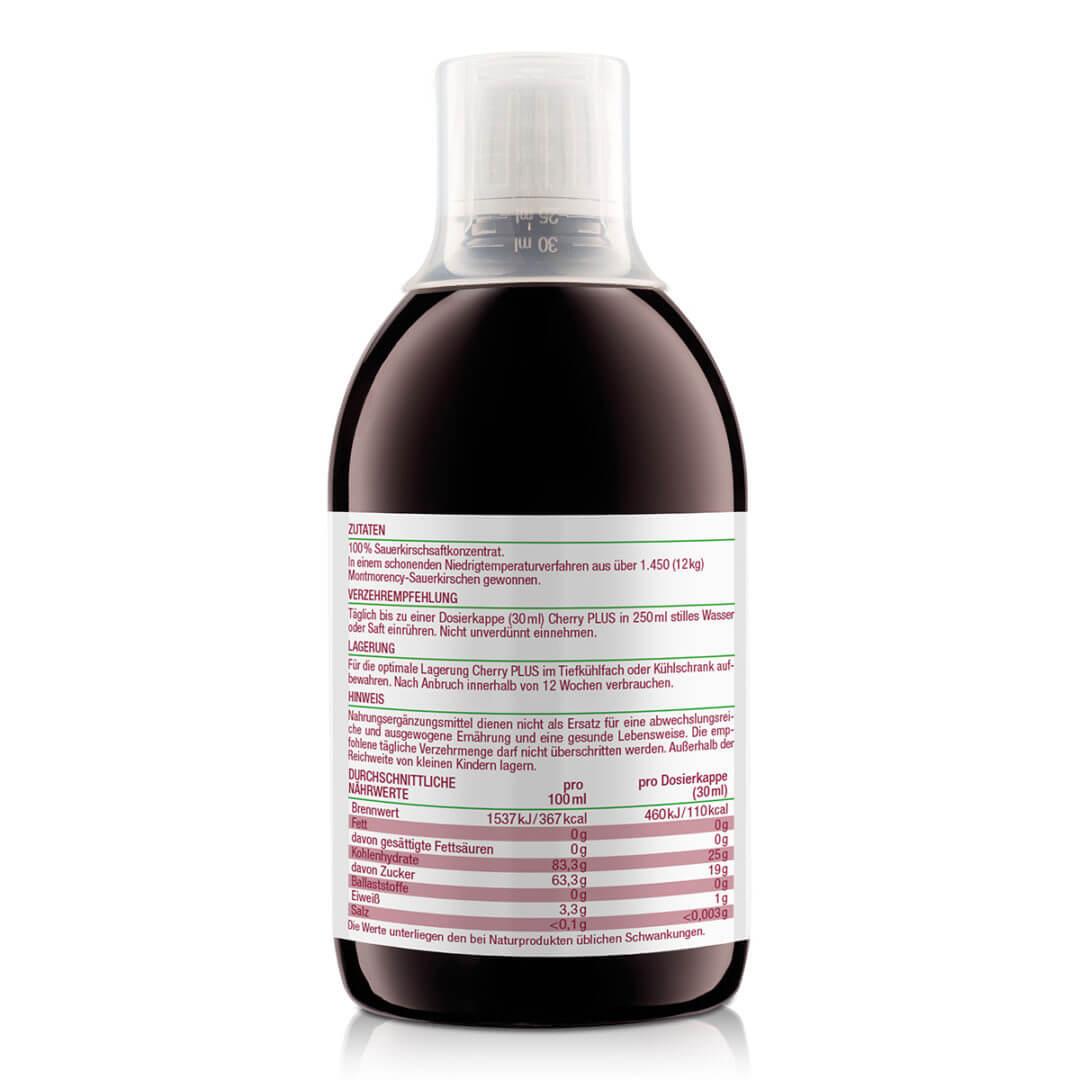 Cherry Plus Konzentrat besteht zu 100% aus Montmorency Sauerkirschen