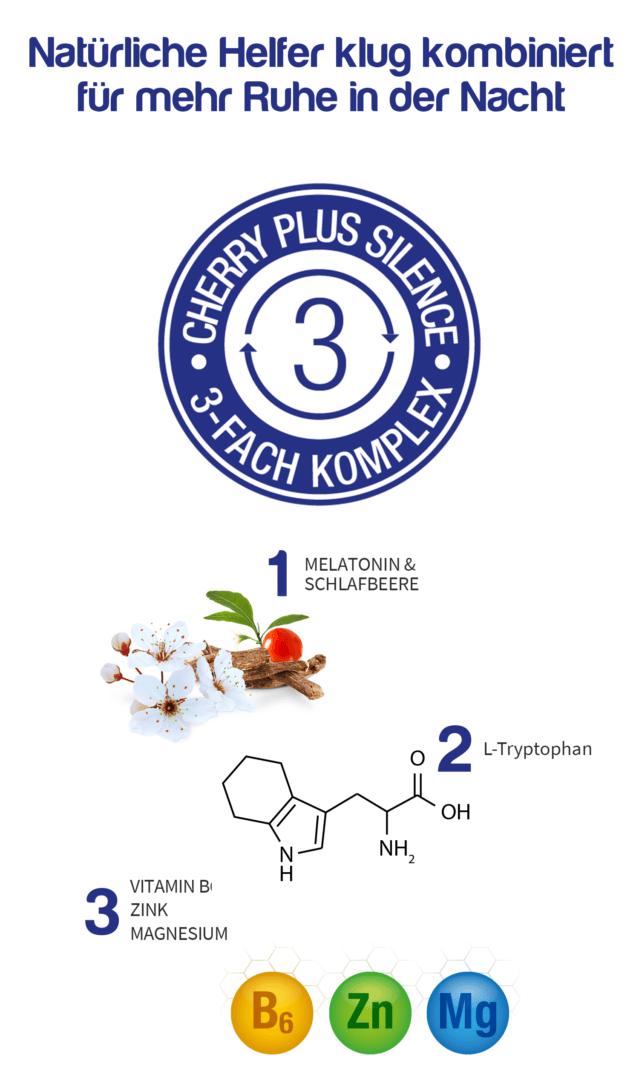 Der dreifach Komplex von Cherry PLUS Silence mit Melatonin, L-Tryptophan, Vitamin B, Zink und Magnesium