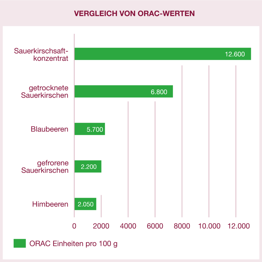 Vergleich von ORAC-Werten: Sauerkirschkonzentrat hat den höchsten Wert mit 12600